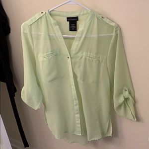 Mint green and gold sheer top